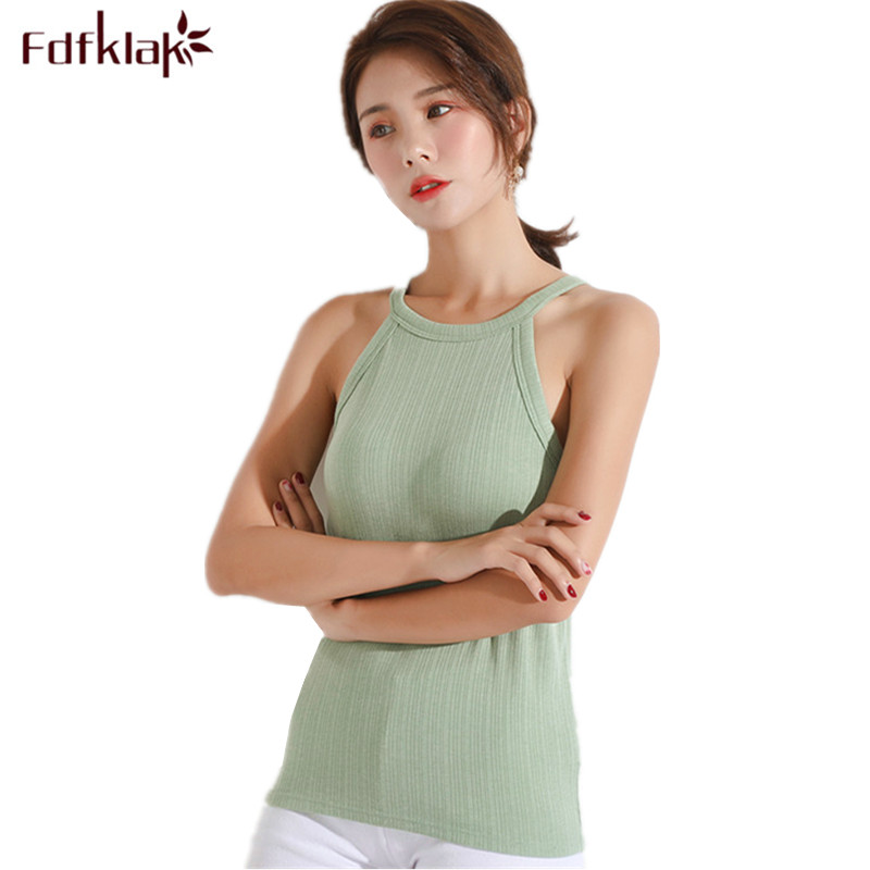 Fdfklak Strapless sexy women's knitted top slim short tank tee <font><b>shirt</b></font> cotton female T-<font><b>shirt</b></font> tank tops <font><b>bra</b></font>-<font><b>padded</b></font> women t <font><b>shirt</b></font> image