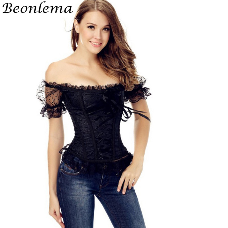 Beonlema Women Lace Vintage Pink   Corset   Off Shoulder Sexy Overbust Korse Short Sleeve Lolita Royal Blue   Bustier   Femme Rave Top
