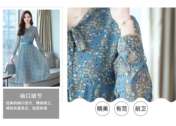2019 Autumn Winter Vintage Chiffon Floral Midi Dress Plus Size Maxi Boho Dresses Elegant Women Party Long Sleeve Dress Vestidos 69