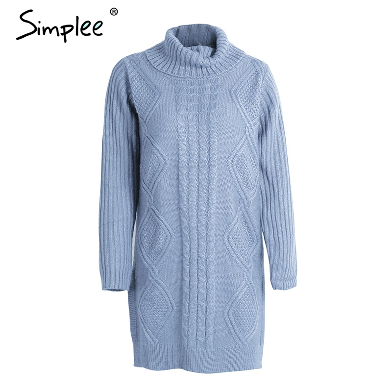 Simplee Turtleneck high split knitting pullover Autumn winter long sleeve leisure sweater dress women pull streetwear jumper 12