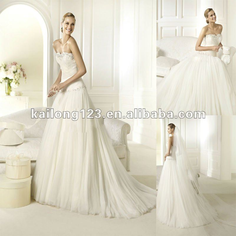Elegant Strapless Drop Waist A line Sweep train Tulle Beaded ...