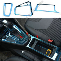 Fit For Ford Focus 15 17 Gearshift Panel+Cup Holder Frame Cover Trim 3pcs Blue