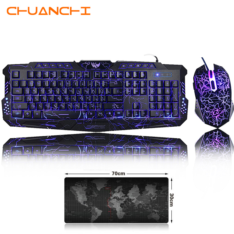 Newest M300 English/ Russian Gaming Keyboard Mouse Combos Co…
