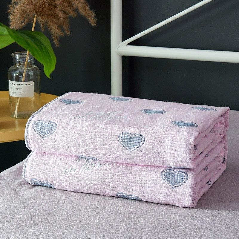 100% coton gaze mousseline couvertures 4 couches fil teint coeur éléphant cheval lèvres plumes doux été couverture pour lits ou canapé
