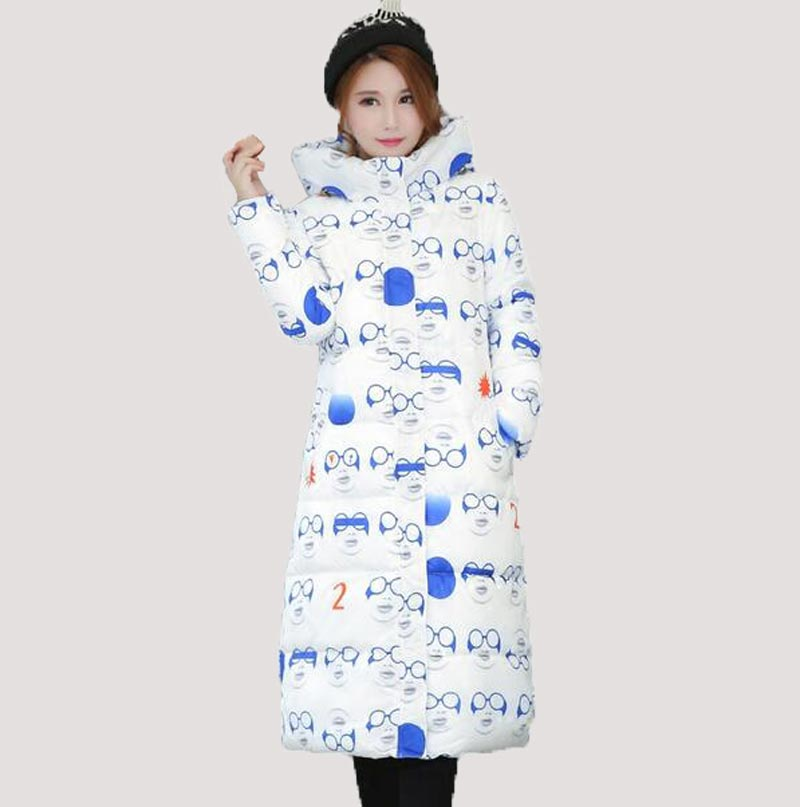 New Thick Winter Women padded Long Jacket Slim Print Warm long cotton Wadded Coat Women Hood Parkas CE0368 new winter women down cotton jacket long thick women coat padded fashion warm coat outerwear hood over coat slim coat jacket