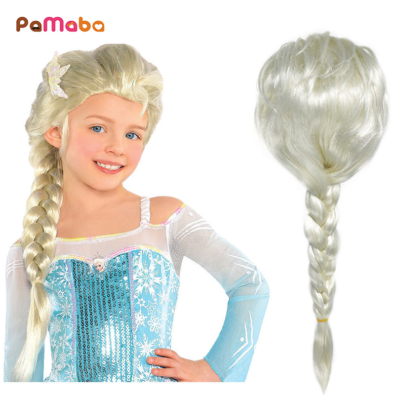 PaMaBa Girls Halloween Princess Elsa Wig Kids Toddler Rapunzel Dress Up Cosplay Accessories Set Children Birthday Party Supplies
