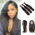 7A Malaysian Straight Hair With Closure 3 Bundles With Closure Cheap Human Hair With Closure Hair Weave 360 Frontal With Bundles