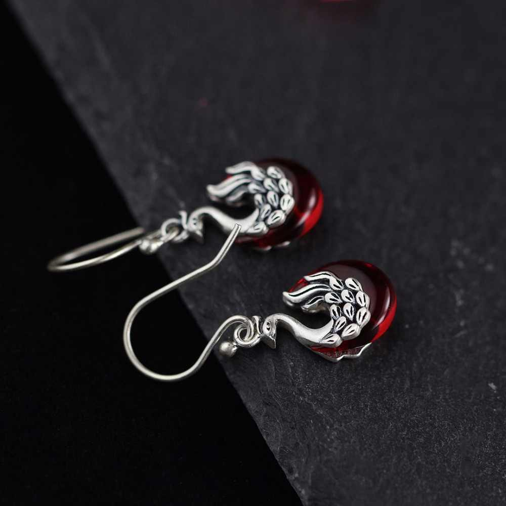 L & P Thái Lan Con Công Cổ Điển Bông Tai Corundum Màu Đỏ 100% 925 Sterling Silver Earrings cho Phụ Nữ Vintage Phong Cách Trang Sức