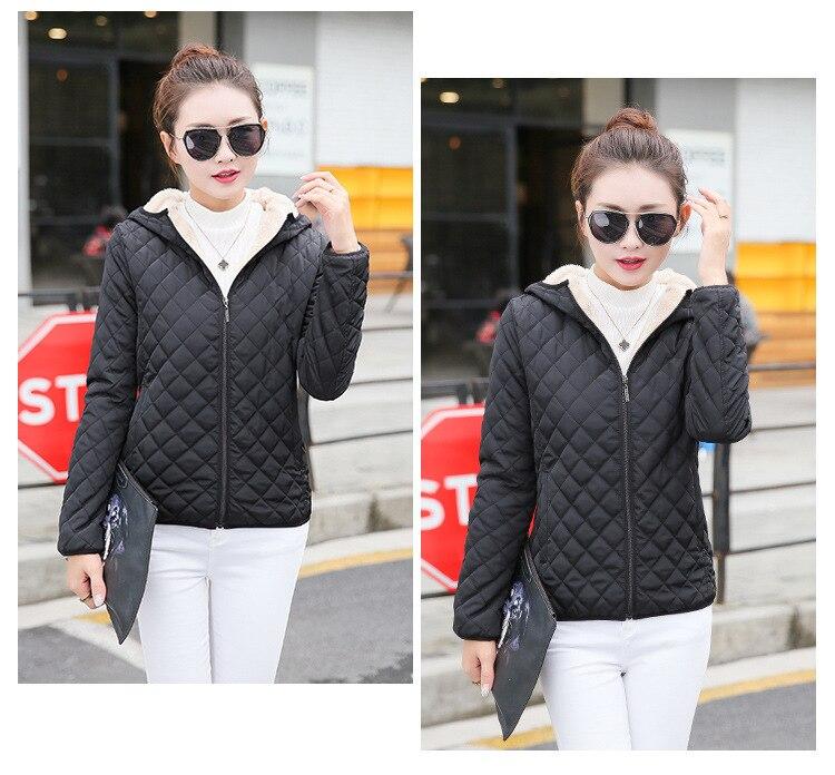 Autumn 2019 New Parkas basic jackets Female Women Winter plus velvet lamb hooded Coats Cotton Winter Jacket Womens Outwear coat 12