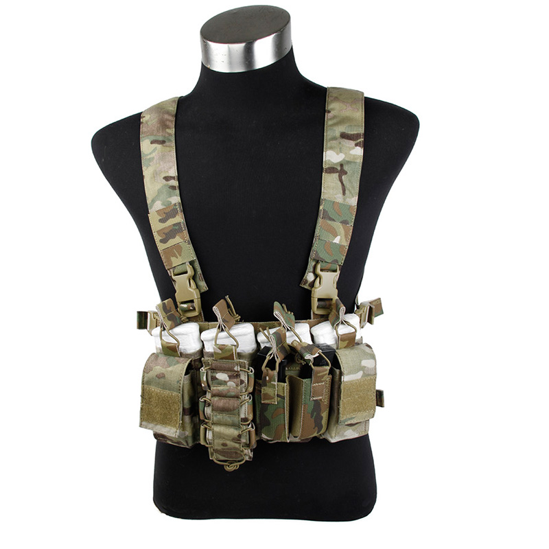 Multicam D-Mittsu Chest Rig MC Chest Rig with Magazine Pouches Harness with mangazine Pouch MC Chest rig Gunner Kit
