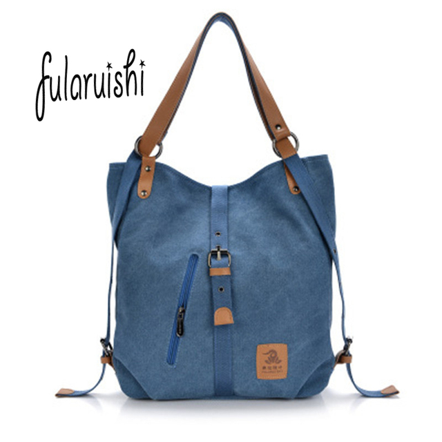 Fularuishi 2017 New Women Backpack Vintage Canvas Bag Shoulder For Man Casual Travel