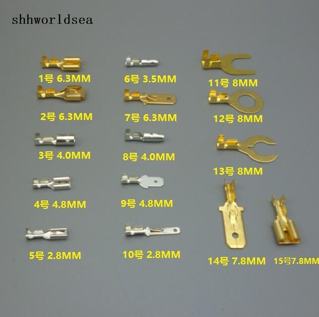 Shhworldsea 50 шт. 2.8 мм 4.8 мм 6.3 мм 4.0 мм 8 мм 7.8 мм 15 видов модель медь авто разъема Авто терминалы