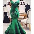 Vestido de Noche elegante 2017 Verde Largo Tramo de Satén con cuello en V Manga Del Casquillo de La Sirena Formales vestidos de Estilo Árabe Vestidos De Noche para Las Mujeres