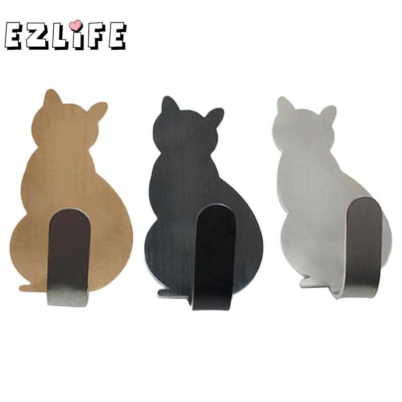 2Pcs Kitchen Wall Door Metal Hook Key Hanger Cat Tail Shaped Decorative Holder Clothes Storage Rack Tool BXT0214