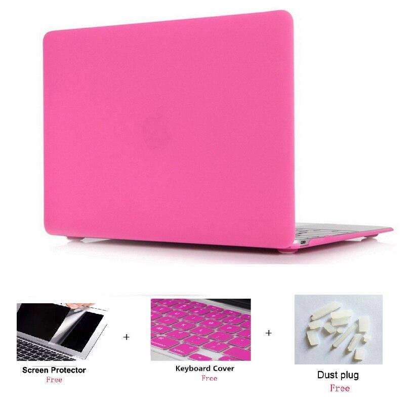 Матовый чехол для ноутбука Apple Macbook Pro retina Air 11 12 13 15 дюймов для Macbook Air13 A1932, Pro 13 15 A1989 A1990 - Цвет: Hot Pink