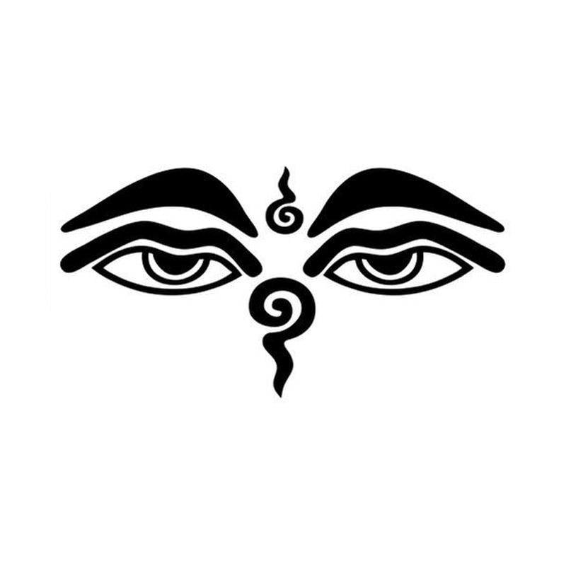 13.9*7.4CM Mercy Buddha Eyes Bumper Sticker Personalized Vinyl Reflective Decals Black/Silver C7-1129