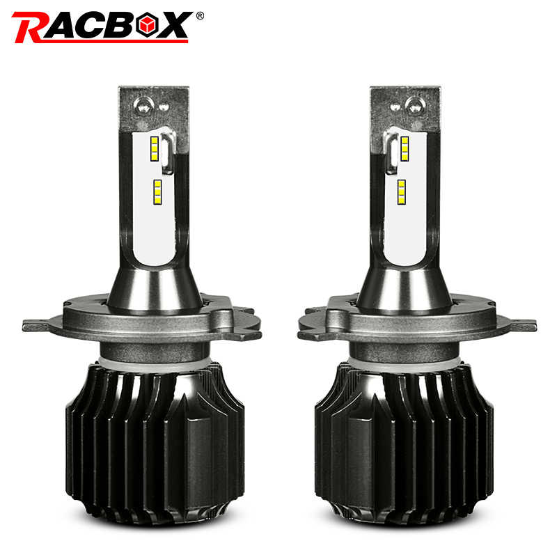 RACBOX Fanless Car LED Headlight Bulbs H4 Hi Lo H1 H7 H8 H9 H11 9005 9006 HB3 HB4 White 6000K for Kia Opel Peugeot LED Auto Lamp