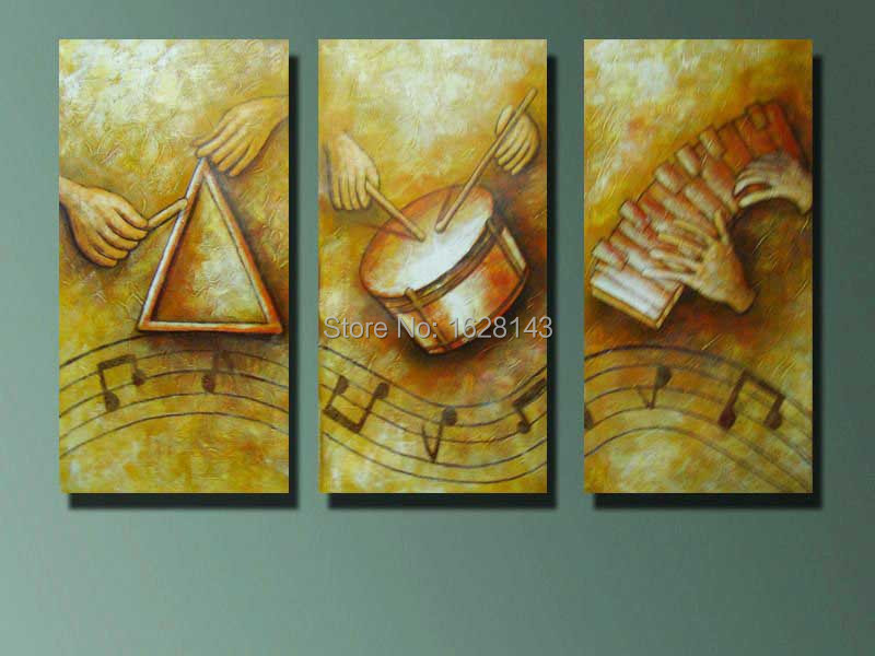 Hand Painting Canvas Music Modern Oil Painting YELLOW Wall Art ...