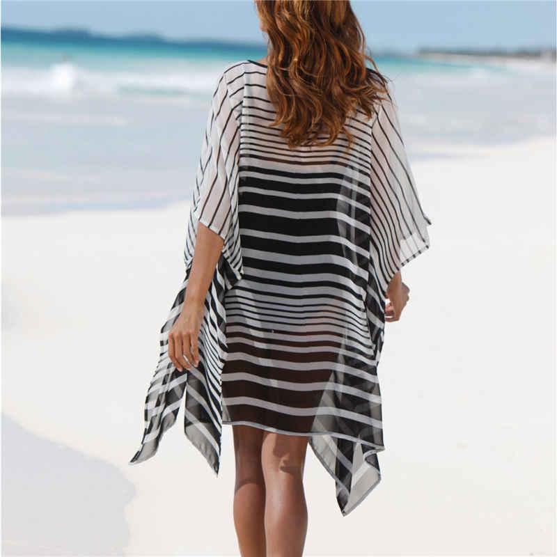 8bdb3bc33d ... Sheer Chiffon Beach Cover Up Tunic Women Summer Beachwear Plus Size Fashion  Striped Batwing Sleeve Mini ...