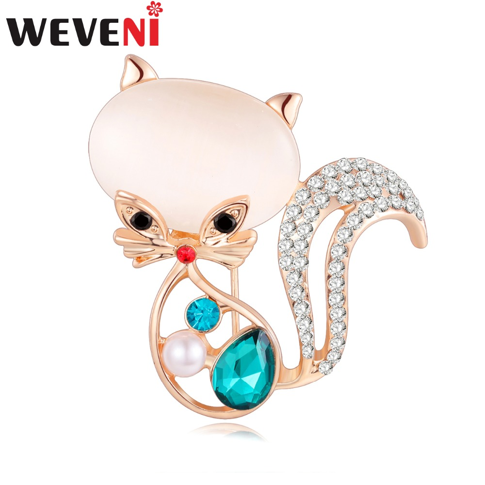 WEVENI Crystal Opal Cat Brooch For Women Brooches Pin Collar Suit Scarf Decoration Kitten Souvenir New Fashion Animal Jewelry