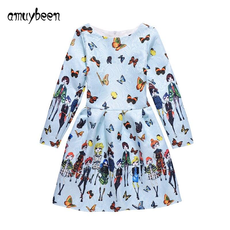 81f0b33987e3 Αγορά Κορίτσια ' ρούχα | Amuybeen 2018 New Girl Clothing Print Dress Long  Sleeve Princess Floral Baby Girls Dresses Party Children Clothes Vestido 11  12