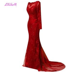 Image 2 - รูปภาพจริงสีแดงเต็มรูปแบบแขนยาวชุดราตรี2020ลูกไม้Appliques MermaidพรหมชุดยาวกวาดรถไฟGownsอย่างเป็นทางการ