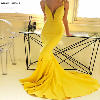 Sexy Spaghetti Straps Evening Dresses Mermaid Deep V-Neck Elastic Satin Vestido Longo Formal Evening Prom Party Dress