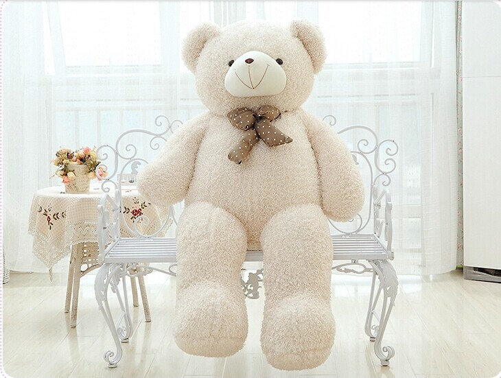 big lovely beige teddy bear doll candy colours teddy bear with spots bow plush toy doll birthday gift about 120cm new lovely plush teddy bear toy big eyes bow bear toy stuffed white teddy bear gift 100cm 0059