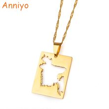 Anniyo Bengal Country Map Pendant and Thin Necklace Gold Color Jewelry Bangladesh Maps of Bengalese Patriotic Gifts #018421(China)