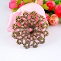 Retail 5Pcs Silver Tone Filigree Wraps Flower Connectors Metal Crafts Gift Decoration DIY Findings 6x6cm