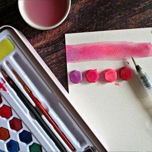 Image 3 - Juego de pintura de acuarela sólida en 36 colores Kit completo de pigmento de pintura portátil, caja de hierro, regalo para estudiantes principiantes, suministros de Arte Artístico para artistas