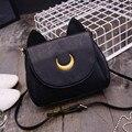 Ampliar verano sailor moon luna cat forma de hombro de las señoras negro bolsa de la cadena de las mujeres de la pu de cuero crossbody bolsas
