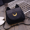 Widen Summer Sailor Moon Shoulder Bags Ladies Black Moon Cat Form Chain Bag Women PU Leather  Crossbody Bags