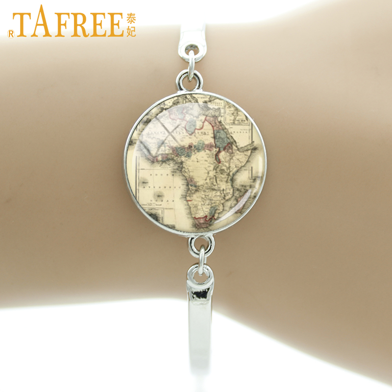TAFREE 2017 South Africa Map Bracelet Glass cabochon dome good quality be adventurous & travel for traveler gift jewelry H571