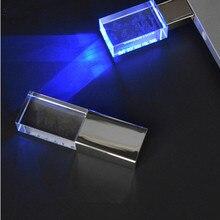 top sale Metal Transparent Pen drive Usb memory stick disk Led light Crystal Usb flash drive