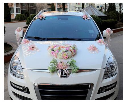 Luxo Silk Rose flor do carro do Casamento da Fita da flor Artificial set decoração fontes do casamento - 3