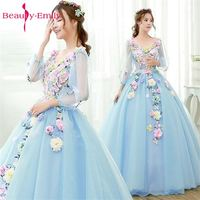 Beauty Emily Light Blue Long Ball Gown Quinceanera Dresses 2018 Princess Girl Dresses V Neck Short Sleeve Lace Up Party Gowns