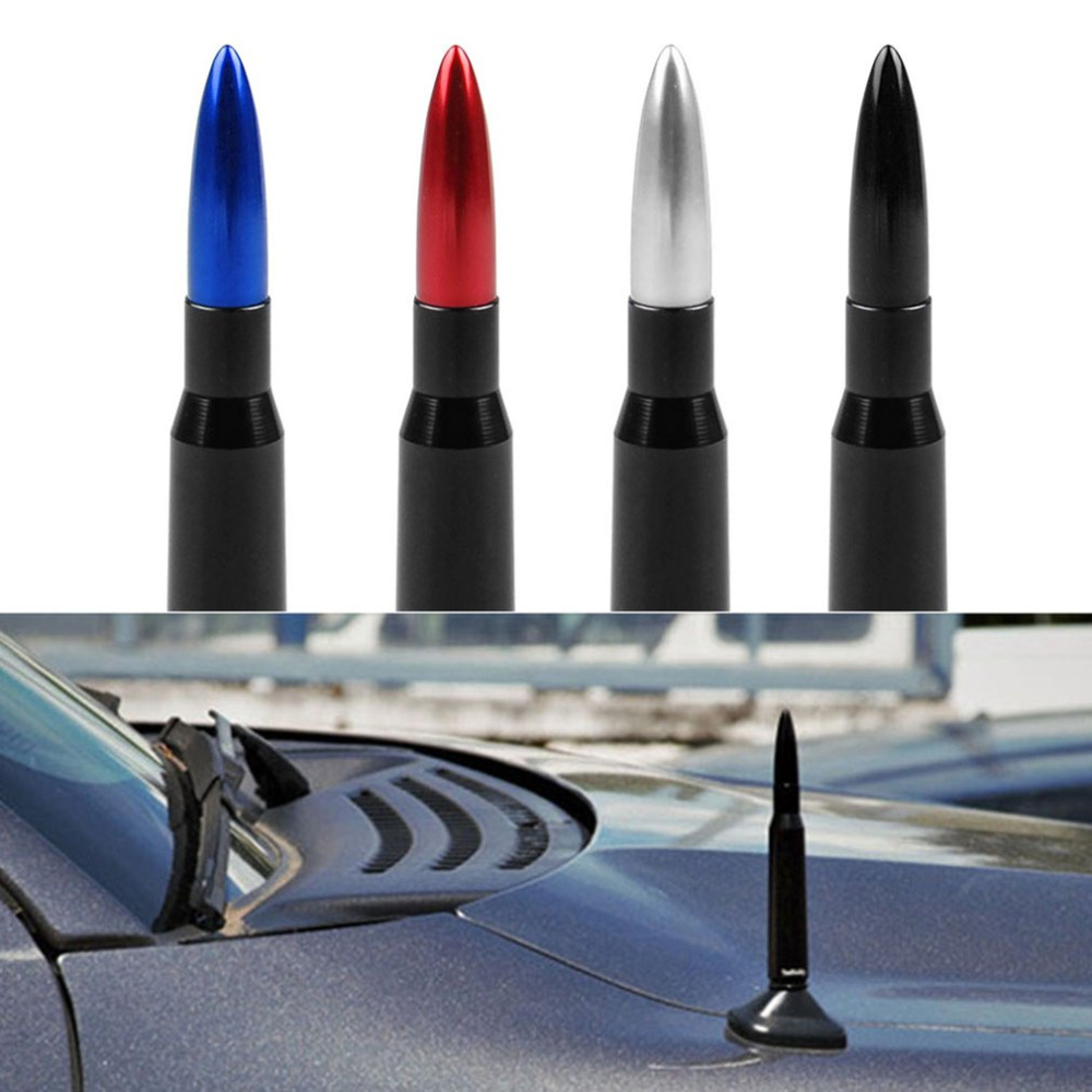 Multi Color nuevo Universal T6061 Billet aluminio techo del coche antena Bullet SUV antena calibre pesado CNC mecanizado Fácil instalación