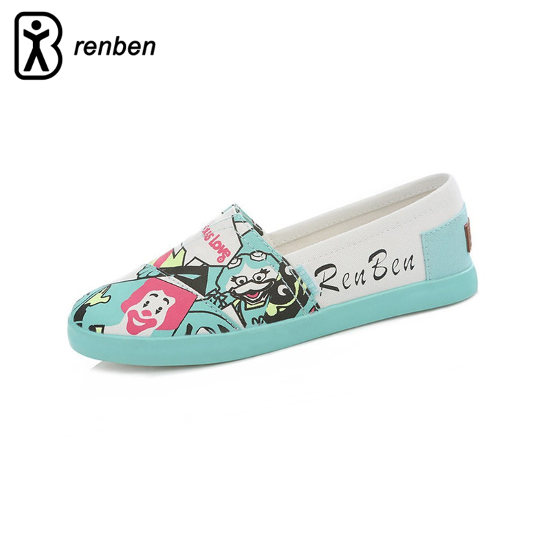 RenBen 2018 Flats Canvas Casual Shoes Women Fashion Lovely Graffiti Cartoon Loafers Female Shoes Lightweight Breathable Shoes цена и фото