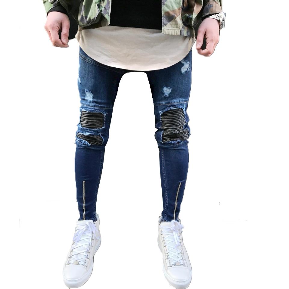 Blue Skinny Jeans Men Biker Pu Leather Pactchwork Pleated Mens Ripped Jeans Stretch Zipper Cuff Distressed Moto Jogger Pants 2017 men jeans biker pleated mens denim ripped jeans hip hop straight stretch zipper distressed moto slim fit pleated punk pants
