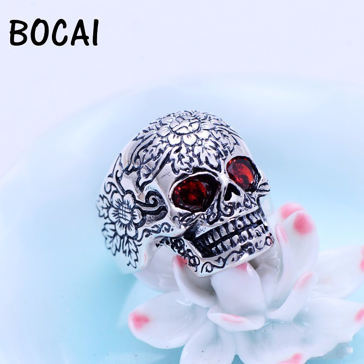 Black silver jewelry wholesale sterling silver inlaid garnet new men personality skull ring xh024560w