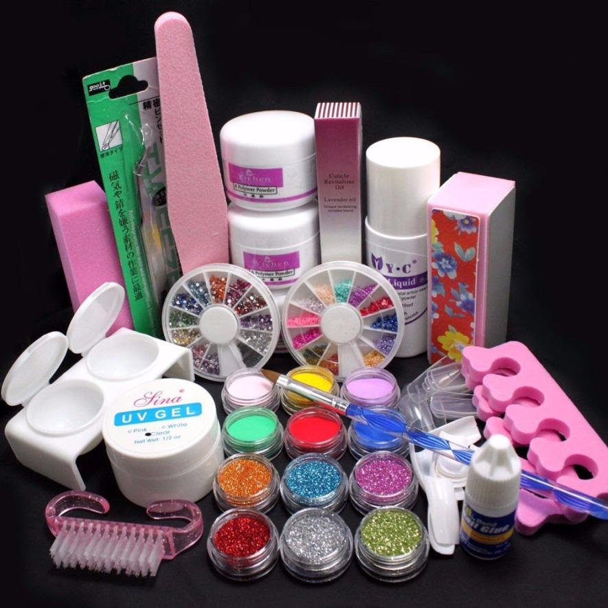 21 pcs Professional Acrylic Glitter Color Powder French Nail Art Deco Tips Set Suitable for professional