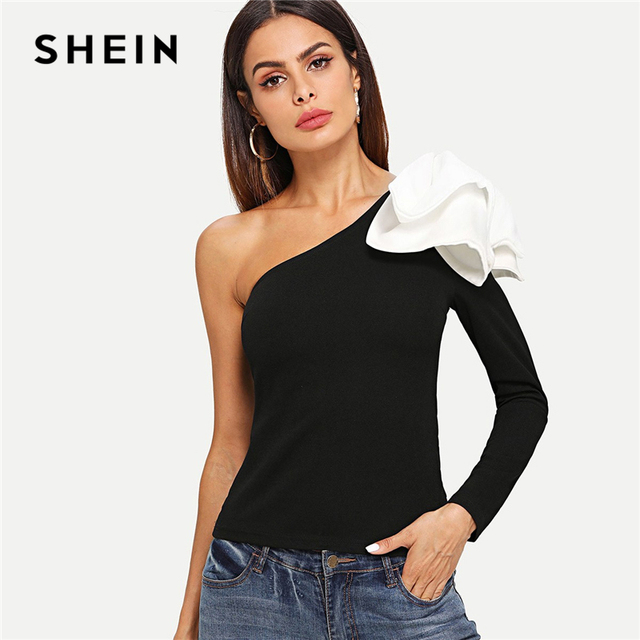 1e008386f4 SHEIN Black Asymmetrical Bow One Shoulder Top Elegant Long Sleeve Slim Fit  Stretchy T-shirt Women Autumn Plain Minimalist Tee