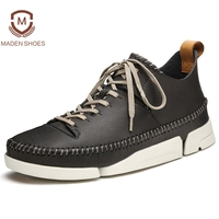 Maden 2018 Spring High Quality Men Leather Casual Shoes Knitting Weaving Breathable Sneakers Genuine Leather High