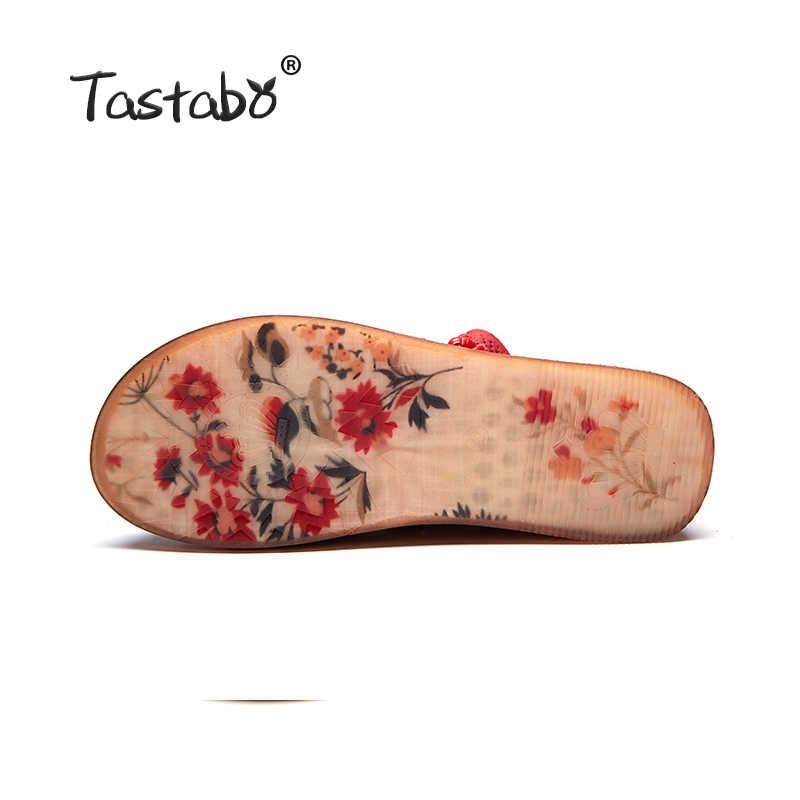 Tastabo Ayakkabı Kadın Retro Rahat El Yapımı yarım çizmeler Düz Gerçek Hakiki Deri Kadın Ayakkabı Nefes patik Rahat ayak