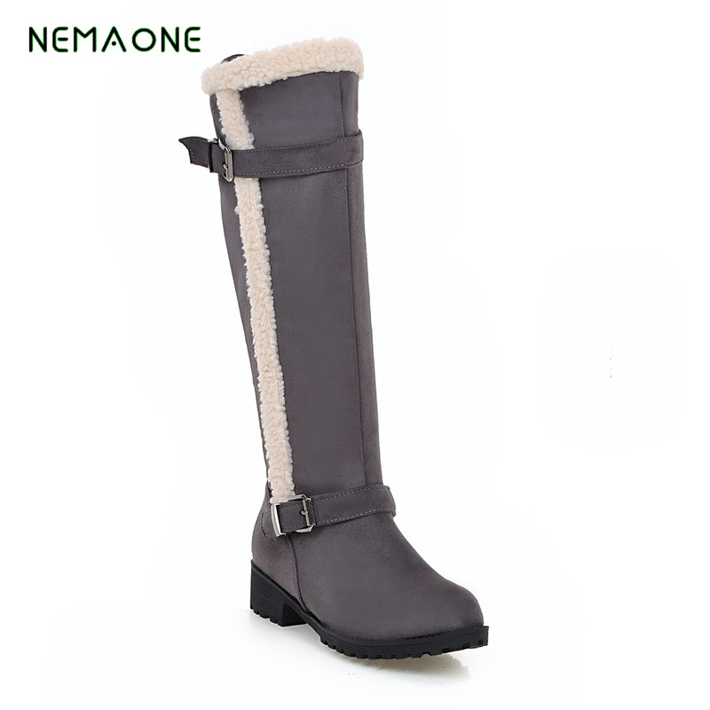 NEMAONE Snow Boots Winter Women Shoes 2017 Cow Split Mid-calf Slip-on Shoe Round Toe Flat Leather Knee High Boots For Women