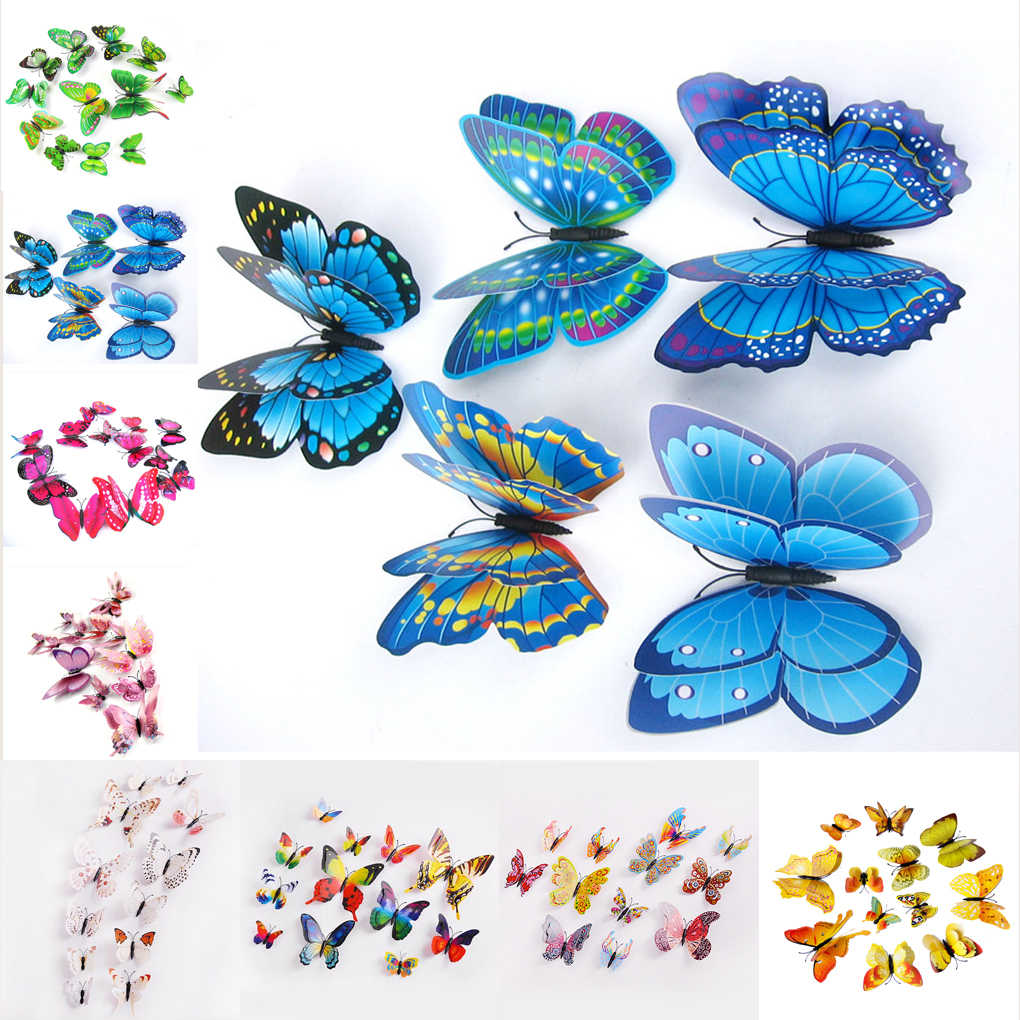 12 pcs 3D Double Wings Butterfly Art DIY Wall Stickers for Home Decoration