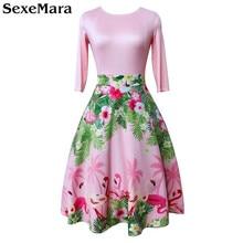 Осень новое 1950 s винтажное, с рукавами до локтя розовое платье с принтом Фламинго ТРАПЕЦИЕВИДНОЕ повседневное женское платье Vestidos вечерние платья бальное платье