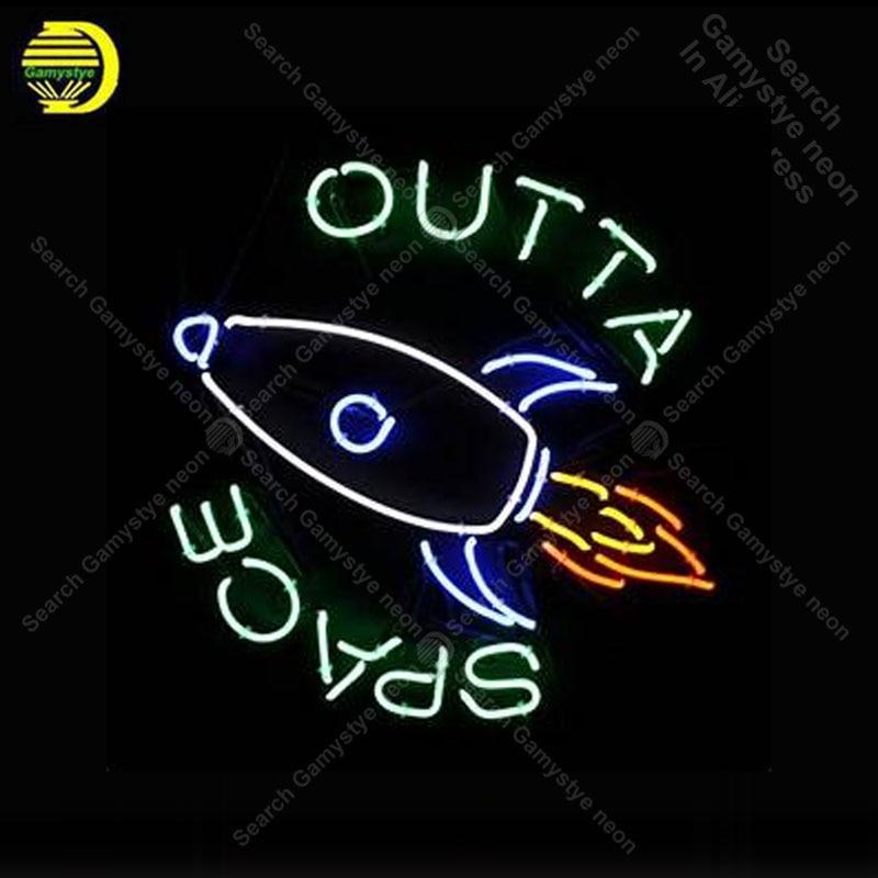 Enseigne au néon pour espace extérieur Tube de verre véritable fusée magasin affichage artisanat Art Restaurant lumière signes lampe anuncio luminoso lampes