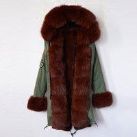 Nieuwe mode aankomst 2016 UK kralen lange vrouwen jas met Koffie kleur faux bontvoering vos bontkraag winterjas